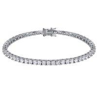 Véritable Solide 925 Silver 15-21cm Bracelet de tennis Bijoux Pave Full 3mm de 5A CZ Cadeau éternel pour femme Bijoux fins