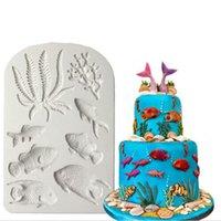 Moules de cuisson 3D Moule en silicone Mer Fondant Fondant gâteau Outils de décoration Starfish Shell Chocolate Gumphaste