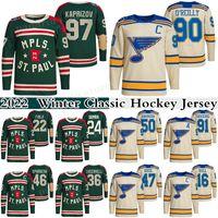 97 Kirill Kaprizov 2022 Inverno Classic Hockey Jersey Minnesota Wild 22 Kevin Fiala 24 Matt Dumba St. Louis Blues 90 Ryan O'Reilly 50 Binnington 91 Tarasenko Jerseys