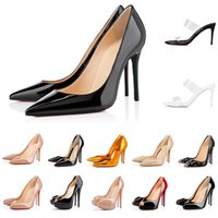 Femmes talons hauts talons rouges robes chaussures en cuir pointus orteils pompes noires Tan de plein air taille 35-43 avec boîte et sac à poussière 010