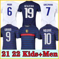 فرنسا لكرة القدم جيرسي اليورو 2020 2021 كرة القدم قميص فرنسا لكرة القدم جيرسي 100th الذكرى MBAPPE World Cup Tripsuit Men + Kids Kit