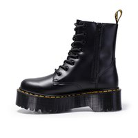 Fashion Brand Motorcycle Boots for Women Autumn 2021 Round Toe Chunky Heel Ankle Side Zipper Increasing Platform