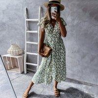 Summer Boho Floral Print Dress Women Sexy V-neck Short Sleeve Bandage Midi Dresses 2021 Ladies Fashion Beach Green Long Dress