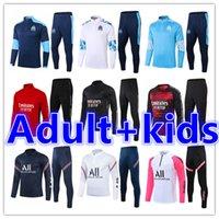 Çocuklar + Erkek Yetişkin Futbol Forması 20 21 Olympique de Marsilya OM Futbol Eğitimi Eşofman Eşofman Takım 2021 Survetement Ayak Chandal Ceket Koşu Setleri