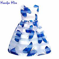 Kseniya Kids Summer Girls Butterfly Estampado Vestido de encaje Big Girl Ropa Vestidos para niños Vestidos para niñas Niños Niñas Cumpleaños Desgaste suave Q0716