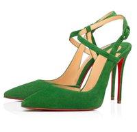 Знаменитые летние дженове сандалии Sandals Sexy Red Bottom Женские насосы идеальный красивый родом на высоком каблуке заостренный носок Сандалии Фемининас ЕС 35-43
