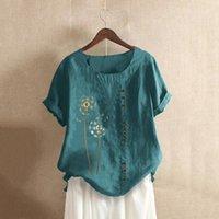 Kadınlar Vintage Keten Malzeme Rahat Artı Boyutu O-Boyun Baskılı Gevşek Düğme Tunik Gömlek Bluz Tops Kimonos Verano 2021 kadın Bluzlar Shir