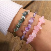 Irregular Natural Stone Bracelet Adjustable Healing Gravel Crystal Rise Bead Bracelets for Women Girls Fashion Jewelry Will and Sandy
