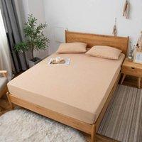 Hojas conjuntos de hojas de luz sólida japonés, hoja ajustada a prueba de agua (con banda elástica) colchón de cama cubierta de protección de algodón toalla poliéster