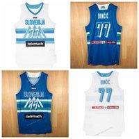 Aangepaste Luka Doncic # 7 Team Slovenija Zeldzame Basketbal Jersey Top Print White Blue Any Num Number Size S-4XL