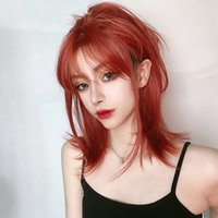 Synthetic Wigs LANLAN Mid-length Red Straight Wig With Bangs, Heat Resistant Fiber Hair Short For Black White Women
