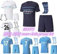 21 22 Şehir Futbol Formaları 2021 2022 Adam Çocuk Grealish # 10 Ayar Futbol Gömlek Kun Aguero De Bruyne Gesus Bernardo Mahrez Rodrigo Yetişkin + Çocuklar Kiti