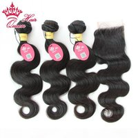 "Queen Hair 100% Peruvian Virgin Human Hair 10""-28"" 4pcs Lot Body Wave Natural Colour Top Quality 1 pc Lace Closure and 3Pcs Hair"