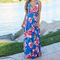 Ladies Print Floral Long Boho Bohemian Beach Summer Dress Women Sundress Sexy V-Neck Sleeveless Strap Maxi Vintage Dress Vestido