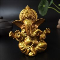 Lord Ganesha Buddha Statue Indian Elephant God Sculptures Gold Ganesh Figurines Ornaments Home Garden Buddha Decoration Statues