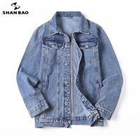 Vestes pour hommes Shan Bao 2021 Automne Marque De haute qualité Coton Veste en jean en vrac classique Tendance de style Casual Plus Taille Vapel