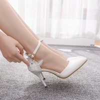 Dress Shoes Women's crystal high heels, wedding shoes in big sizes for women, with white lace, UI5U