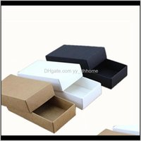 Wrap 10 Sizes Black White Packaging Kraft Blank Gift Paper Box With Lid Carton Cardboard Zdyam A9V78
