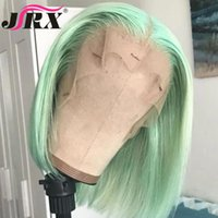 Lace Wigs Brazilian Green Colored Silky Human Hair Short Bob Deep Part For Women Pre Plucked Glueless Remy