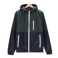 Men's Jackets Patchwork Windbreakers Men Casual Autumn Spring Hoody Zipper Outwear Lightweight Breathable Streetwear Bomber Jacket