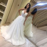 Spaghetti Lace A Line Wedding Dresses Appliqued V Neck Sweep Train Backless Lace-up Back Tulle Bridal Gowns