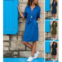 Casual Dresses Dress Women Summer Style 7 Minutes Of Sleeve Solid Color Trials Sashes Mini Vestidos ZXP001