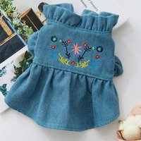 Dog Apparel Puff Sleeve Dress Clothes Super For Dogs Clothing Small Pet Outfits Cute Summer Yorkies Embroidered Green Girl Mascotas
