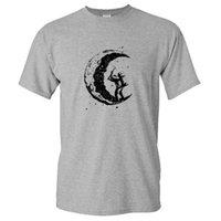 AngryGoldfoldfish Мужская копание Луны Печать Повседневная O-Hear T Рубашки Tops Футболка