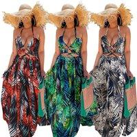 Bandage Halter Casual Dresses Womens Summer Sexy Hollow Backless Split High Waist Maxi Long Dress for Women