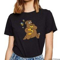 Women's T-Shirt Women Brown Bear Bees Honeybees Honey Beehive Sexy Harajuku Female Tshirt Clothes Plus Size