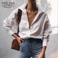 Нейтральный ветер богиня наполовину открытый воротник красивый маленький хлопок ретро маленькая рубашка проигрывателя белая рубашка Bluss 12562 210528