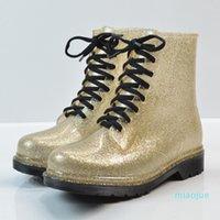 Women Transparent Bling Lace Up Ankle Rain boots Female Platform Waterproof Low Heels Ladies Fashion Glitter Shoes