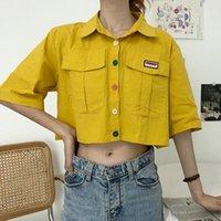Pulsanti a maniche corte con colletto a maniche corte per donna Ropalia Single Single Breasted Blusa