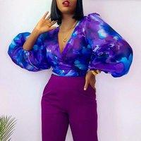 Women's T-Shirt Sexy Tie Dye Blue Printed Women Blouse Autumn V Neck Chifion Shirts Crop Tops Fashion Long Sleeve