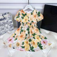 Kızlar Çiçek Elbiseleri Marka Tasarımcısı Kız Etek Sarı Renk Boyutu 90-150