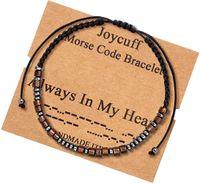 Pulseiras de código Morse Handmade em meu amante coração pulseira de amizade para mulheres homens bff charme cadeia jóias prometem presentes
