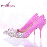 Красивые свадебные туфли горный хрусталь Bridal платье заостренный носок высокие каблуки сексуальные женщины розовый цвет с ab Crystal
