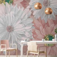 Wallpapers Bacaz Custom Size Plume African Chrysanthemum Dry Flower Wallpaper Mural For Bed Background 3D Floral Wall Paper Sticker Decor