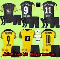 Haaland Reus Borussia 20 21 Dortmund Soccer Jersey 2021 Quarto Futebol Camisas Bellingham Sancho Hummels Brandt 4th Men + Kid Kit Maillot de pé