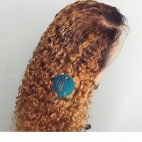 Вода и волна обезжиренные узлы Свободная глубокая часть 13x6 кружева передний парик сбросил медовую блондинку ommre вьющиеся человеческие волосы безразличный бразильский фронтальный