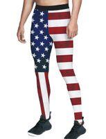 Pantalones para hombres Vintage Bandera Americana Menores Leggings Día de la Independencia Control Pulta Mutery Soft Stretch Fit MÁS TAMAÑO POLIÉSTER B