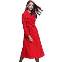 Women's Wool & Blends Stylish Elegant Long Coat Lapel 2 Pockets Belted Jackets Solid Color Coats Female Outerwear 2021