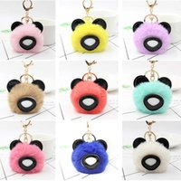 Keychains 10pcs Lot Fluffy Faux Fur Ball Animal Keychain Women Pompom Bear Key Chain On Bags Female Jewelry Party Gifts
