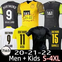 Homem + Crianças 20 21 22 22 Dortmund Borussia Reus Guerreiro Jerseys Soccer 2021 Blackout Sancho Hummels Haaland Camisa de esporte Brandt