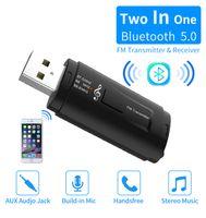usb car FM transmitter 3.5aux bluetooth receiver dual output stereo call cigarette lighter bluetooth 5.0