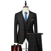 Men's Suits & Blazers 3-piece Suit Spring And Autumn Checkered Slim Fit Business Formal Wear Casual Office Work Party Dance