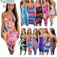 Frauen Kleid Designer Slim Sexy Sleeveless Sling Tie Dye Gedruckt Lange Kleider Backless Sommer Gedruckt Hosenträger Rock 12 Farben