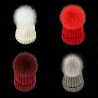 Designer Winter Hat Removable Real Fox Fur Ball Knitted Acrylic Warmer Hats 3 Sizes For Baby Kids Adults Slouchy Mens Womens Children Snow Cap Black Pink Beige