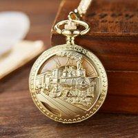 Pocket Watches Retro Bronze Train Steampunk Mechanical Watch Metal Pendent Chain Classic Hand-Wind Vintage Fob Filp Men