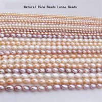 """8-11mm Natural Freshwater Pearl Rice Shape Loose Beads 4 Colors For Jewelry Making DIY Necklace Bracelet Accessories 14"""""""